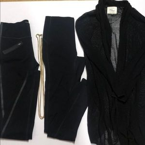 2 Spanx leggings,  necklace and fishnet cardigan
